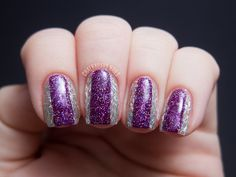 Blinged out racing stripe nail art from Chalkboard Nails featuring Zoya Nail Polish in Electra and Zoya Aurora!