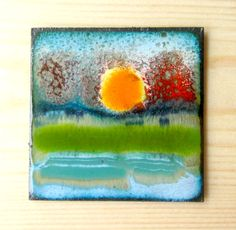 """part of the """"African Sunset"""" series kiln fired, vitreous enamel art panel 2x2 inches on a 3 1/2 by 3 1/2 wooden block. $45"""