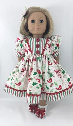 "Fits 18"" Dolls Like American Girl Christmas Short Sleeved Dress and Matching Hairbow"