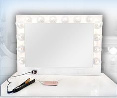 Hollywood Vanity Mirror, Vanity Mirrors, Custom Mirrors, Custom Vanity, Mirror With Lights, Light Up, Shop, Diy, Home Decor