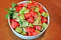 Melon, Cucumber + Mint Salad