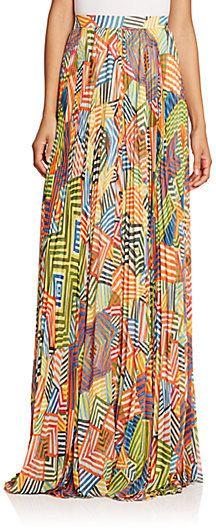 Alice + Olivia Shannon Printed Pleated Maxi Skirt
