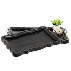 A set of 2 baroque-frame elegant wooden black serving and display trays. Features 2 individual trays made out of wood and painted with a matte black rustic-style finish, both of a rectangular shape with 1 smaller than the other. Ideal for acting as a pair of serving trays for dinner parties but can also work as decoration holders and displays.