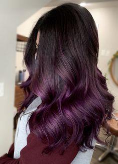 Ombre Hair Brunette, Ombre Hair Color For Brunettes, Dark Purple Hair Color, Balayage Hair Purple, Dark Ombre Hair, Dyed Hair Purple, Red Hair Dye For Dark Hair, Black Hair Pink Highlights, Ombre Hair Colour