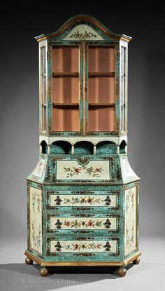 Venetian Rococo-Style Polychromed and Parcel Gilt Secretaire, 19th c., superstructure with arched pediment vitrine cabinet; medial arcade, fall front writing surface, fitted desk interior, over three drawers, molded plinth, ball feet, h. 87 1/2 in., w. 41 1/2 in., d. 19 1/2 in.