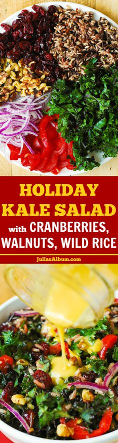 Healthy Holiday Kale Salad with Cranberries, Walnuts, and Wild Rice. Gluten free, vegetarian, vegan! #BHG #sponsored #Thanksgiving