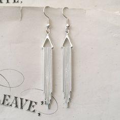 Silver Art Deco Earrings Dangly Earrings Drop by TemporalFlux, $8.00