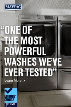"""Count on Maytag for a dependable washer and dryer that will work in your laundry room. But don't just take our word for it, click here to see why reviewed.com called this Maytag® washing machine (model MHW8630HC) """"one of the most powerful washes we've ever tested."""" Maytag Washing Machine, Maytag Washer And Dryer, Doing Laundry, Laundry Room, Ready To Rumble, Laundry Appliances, Front Load Washer, Stains, Words"""