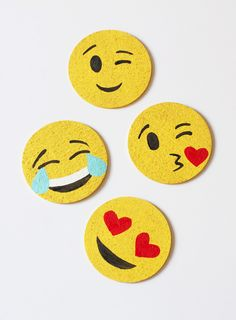 Cut Some Cork Into A Circle, Paint Them Yellow, And Paint On Faces. DIY Emoji Coasters!