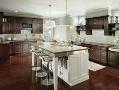 [ Wood Kitchen Cabinets Contrasting White Island Modern Kitchen Kitchens Traditional White Antique Kitchen Cabinets ] - Best Free Home Design Idea & Inspiration Large Kitchen Cabinets, Wood Kitchen Cabinets, Kitchen Remodel, Kitchen Design, Homecrest Cabinets, Modern Kitchen, Dark Wood Kitchens, Transitional Kitchen, Transitional Kitchen Design