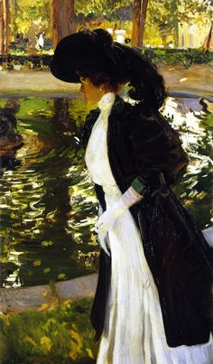 The Athenaeum - Clotilde Strolling in the Gardens of La Granja (Joaquin Sorolla y Bastida - Amazing the resemblance to John Singer Sargent Spanish Painters, Spanish Artists, Renoir, Giovanni Boldini, Singer Sargent, Figure Painting, Belle Photo, Monet, Love Art