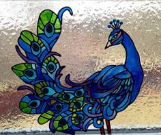 Peacock Feathers glass paint octogonal window