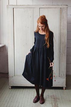 Leinen Kleid schwarze Leinen Leinen Maxi Kleid lange Ärmel Langärmelige  Kleider, Lange Ärmel, Leinen d83e760f03
