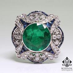 Antique Art Deco 18K Gold Diamond Sapphire GIA Certified F1 Emerald Ring   eBay