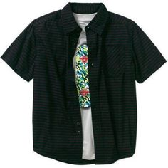 Faded Glory Boys' Short Sleeve Stripe Woven Shirt with Graphic Tee, Size: 8, Black