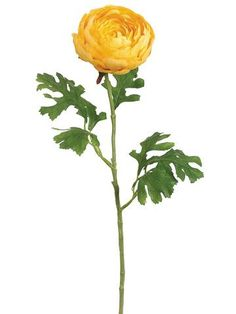 """Double Ranunculus Faux Flower in Yellow 4.5"""" Bloom x 26.5"""" Tall"""