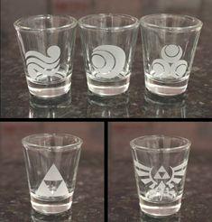 Legend of Zelda Shot Glass Set by EmporiumOfFluffLLC on Etsy, $27.50