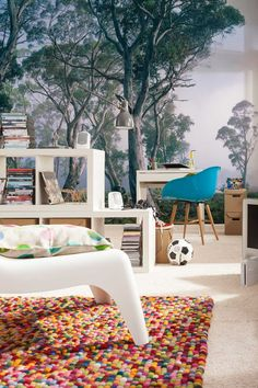 If I can't live in the middle of a lush forest, can I have this amazing wall mural instead? I'll take the rug, too.