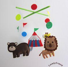 "Baby Crib Mobile - Baby Mobile - Felt Mobile - Nursery mobile - "" Circus tent, lion, bear, elephant, Giraff"" design (Custom Color Available). $78.00, via Etsy."