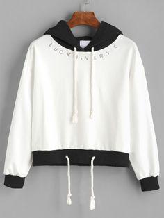 Sweat-shirt contrasté avec capuche et lacet - blanc -French SheIn(Sheinside)