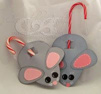 Christmas Mouse Candy Cane Holders - What a cute Idea to go with the poem 'Twas the Night Before Christmas!
