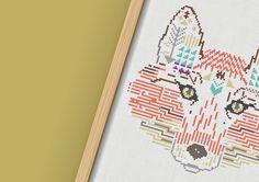 Cross stitch print by French designer Maevi Colomina