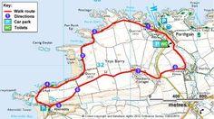 Route of the Porthgain to Aberreidi coastal walk in Pembrokeshire. 4 mile circular