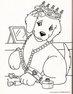 Kleurplaat hond kroon