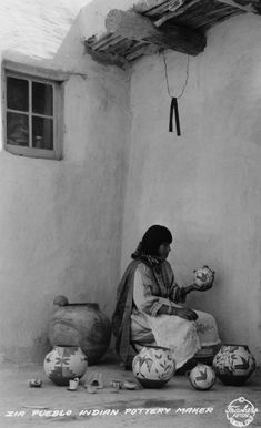 Zina Pueblo Indian Pottery Maker, 1935, by Frasher of Pomona, CA