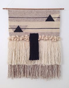 Hand Woven Wall Hanging / Tapestry / Weaving // Cream, Dark Grey, Light Tan with Mohair