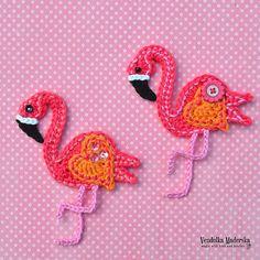 Crochet pattern Crochet Flamingo applique by VendulkaM / image 2 Half Double Crochet, Single Crochet, Crochet Flamingo, Button Flowers, Crochet Purses, Cute Crochet, Crochet Accessories, Crochet Animals, Slip Stitch