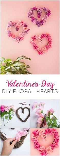 alittlecraftinyourday:  DIY FLORAL HEARTS