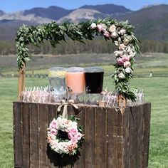 cocktail hour wedding | Ceremony Refreshment Station