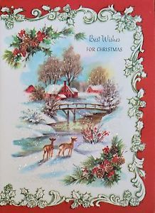 vintage unused glitter embossed christmas card heavily illustrated deer barn