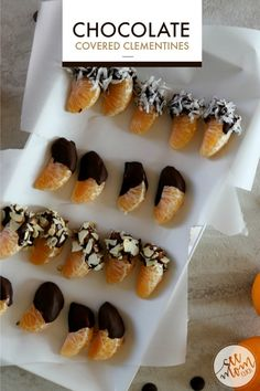 You can still keep a strong finger-foods game this holiday season without overindulging. Here are a few better-for-you appetizer ideas plus the world's easiest recipe for Chocolate Dipped Clementines. So good, so simple to make! Yummy Healthy Snacks, Delicious Desserts, Snack Recipes, Dessert Recipes, Yummy Recipes, Cookie Recipes, Chocolate Dip Recipe, Chocolate Dipped, Cobbler