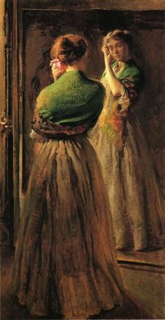 ca 1900 Joseph Rodefer de Camp (American, 1858-1923) ~ Girl with a Green Shawl; oil on canvas