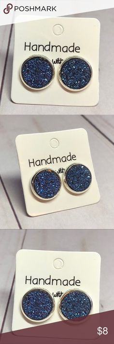 """🆕Metallic Purple Glitter Faux Druzy Earrings! New, Handmade by Me!  Approx. 10mm Diameter, 0.4""""; So Fun & Pretty, Metallic Purple Glitter Flat Faux Druzy Style on a Silver Post Back; 📸These are My pic's Of the Actual Item you will receive!  ▶️3 For $15! Add to Bundle & offer price! Each Additional item is $5! EX: 4-$20, 5-$25, etc...◀️ • Druzy Stud Earrings for pierced ears • Nickel, Lead & Cadmium Free Posts  *NO TRADES *Price is FIRM as Listed!  *Sales are Final-Please Read Descriptions…"""