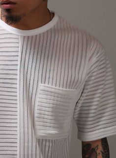 Mens Summer See-Through Knitted 1/2 Sweater at Fabrixquare: