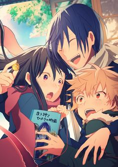 Hiyori, Yato, and Yukine (The book: the tale of Hiyori and the God Yato)