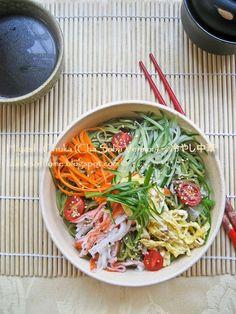 Hiyashi Chuka (Cha Soba Version) or Japanese Cold Noodle Salad
