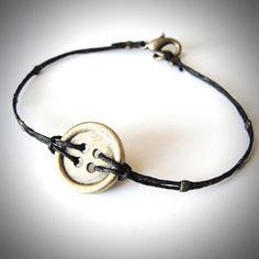 """Button Up"" Brass & Linen bracelet from JewelryByMaeBee on Etsy."