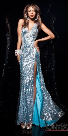 TONY BOWLS PARIS SEQUINED HALTER DRESS