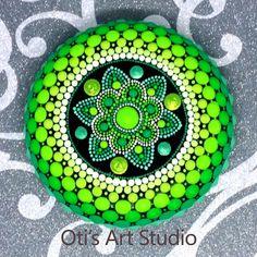 Mandala Stone SAMSARA GREEN-Hand Painted