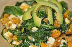 Simple to prepare and absolutely delicious. Roasted pumpkin, creamy feta and fresh spinach are complemented beautifully by delicate pine nuts, rich sesa. Salad Recipes, Meal Recipes, Roast Pumpkin, Feta Salad, Spinach And Feta, Seaweed Salad, Main Meals, Whole Food Recipes, Fresh