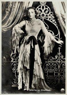 Marlene Dietrich. German postcard by Ross Verlag, no. 545. Photo: Paramount.