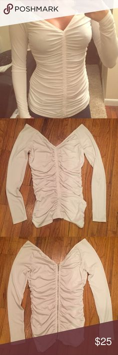 Guess Long Sleeve Top White Scrunched Long Sleep Top.  Zip up back. V-Neck.   🌺 Offers Welcome! 🌺 Guess Tops