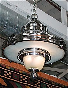 Fabulous Art Deco/Machine Age Hanging Fixture