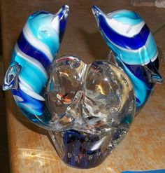 Multi Blue Layered Glass Two Dolphins Collectible Sculpture Figurine
