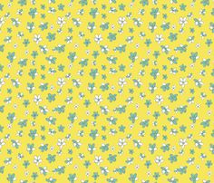 Sunny Flight Polka-Dots  Cute Doodled Daisies by diane555, click to purchase fabric