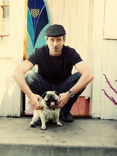 Just Hugh Laurie with a Pug  http://cute-overload.tumblr.com